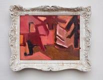 Expressionismkanfas för abstrakt konst i antik vit ram för tappning Royaltyfria Bilder