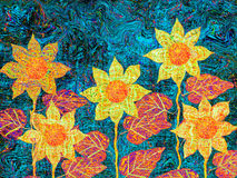 Expressionist Flowers in the Garden. Flowers in the Garden Under the Red Midday Sun - Original Expressionist Art Stock Image