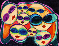 Expressionist Sunglasses Crowd Stock Photo