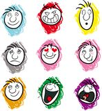 Expressions. Nine illustrations showing different emotions or moods Royalty Free Stock Photography