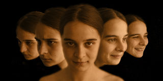 Expressions. Multi facial expressions of a girl Royalty Free Stock Photo