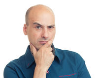 Expressions of bald man - thoughtful Royalty Free Stock Photo
