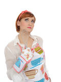 Expressions.Beautiful cooking woman Royalty Free Stock Image