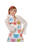Expressions.Beautiful Cooking Woman In Apron Royalty Free Stock Photos
