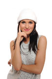 Expressions.Beautiful winter girl in a hat Royalty Free Stock Images