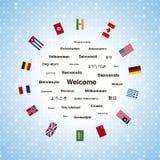 Expressions bienvenues noires dans différentes langues du monde et des drapeaux de pays illustration de vecteur