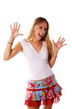 Expressions blondes heureuses image stock