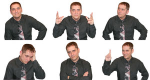 Expressions from a Business Man. A business man is showing a variety of facial expressions and emotions ranging from angry to happy to curious stock images