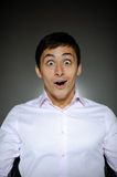 Expressions business man in white shirt  shocked Royalty Free Stock Photo
