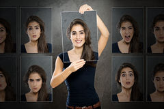 Expressions. Caucasian woman shows various expressions Royalty Free Stock Photos