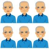 Expressions chauves supérieures de visage d'homme Photos libres de droits