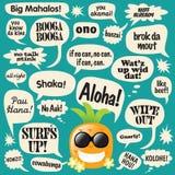 Expressions dans les bulles comiques (ananas hawaïen) illustration stock