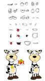 Expressions de bande dessinée de vache à cadeau réglées Images libres de droits