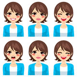 Expressions de femme réglées Image libre de droits
