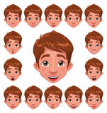 Expressions de garçon avec la synchro de languette. Photo stock