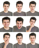 Expressions de visage d'homme Image libre de droits