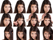 Expressions de visage de jeune fille Photographie stock libre de droits