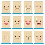 Expressions de visage de sac de papier Images libres de droits