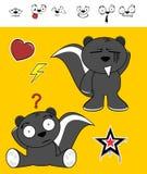 Expressions douces de bande dessinée de mouffette réglées Image stock