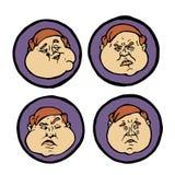 Expressions du visage dans des visages du ` s de l'homme, icônes d'émotions réglées Image libre de droits