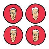 Expressions du visage dans des visages du ` s de l'homme, icônes d'émotions réglées Photographie stock