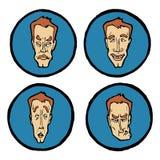 Expressions du visage dans des visages du ` s de l'homme, icônes d'émotions réglées Images stock