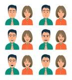 Expressions du visage de femme et d'homme Photos stock