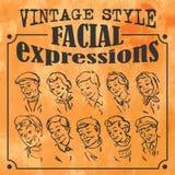 Expressions du visage de style de vintage illustration libre de droits