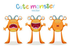 Expressions And Emotions. Cute Cartoon Monsters Emotions. Vector Set Isolated Royalty Free Stock Photos