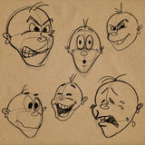 Expressions faciales de caricature Photographie stock