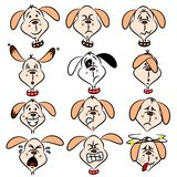 Expressions faciales de crabot de dessin animé Photographie stock