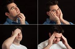 Expressions faciales de verticale mâle sur le noir Photographie stock libre de droits