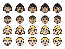 Expressions faciales mignonnes Images libres de droits