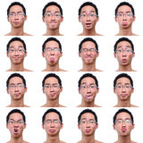 Expressions faciales multi de mâle asiatique photo stock