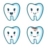 Vector set of cartoon teeth with different emotions. Expressions of funny tooth character stock illustration