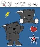 Expressions heureuses de bande dessinée de mouffette réglées Photo libre de droits