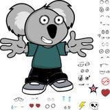 Expressions heureuses de koala de petit enfant réglées Image libre de droits
