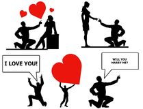 Expressions of Love and Marriage. An illustration featuring your choice of silhouette characters including 2 marriage proposals, a man shouting 'I love you!' Royalty Free Stock Photos