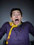 Expressions. man feeling fear and shock Royalty Free Stock Photography