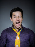 Expressions man in funny shirt laughing Royalty Free Stock Image