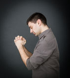 Expressions for a man prayer Royalty Free Stock Photo