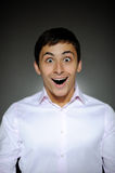 Expressions man in white shirt surprised Royalty Free Stock Photo