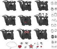 Expressions mignonnes de bande dessinée de boule de mouffette Photos libres de droits