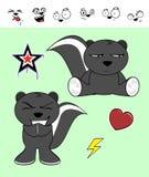 Expressions mignonnes de bande dessinée de mouffette réglées Photo stock