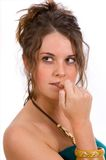 Expressions - nervous, concern. Young attracive lady looking concerned, nervous or apprehensive stock photo
