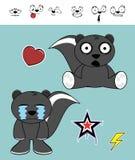 Expressions pleurantes de bande dessinée de mouffette réglées Images libres de droits