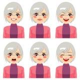 Expressions supérieures de visage de femme Photo stock