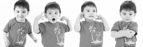 Expressions of a Toddler. Four silly expressions of a 2 year old boy in black and white.  Shot in studio over white Stock Photography
