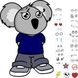 Expressions tristes de koala de petit enfant réglées Images stock