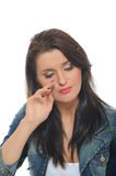 Expressions. upset and crying pretty woman Stock Photography
